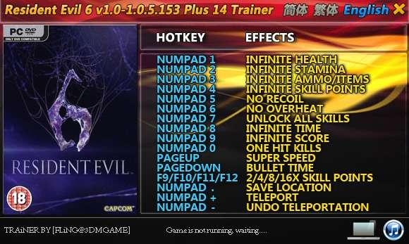 Resident Evil 6 1.0-1.0.5.153 +14 Trainer [FliNG]